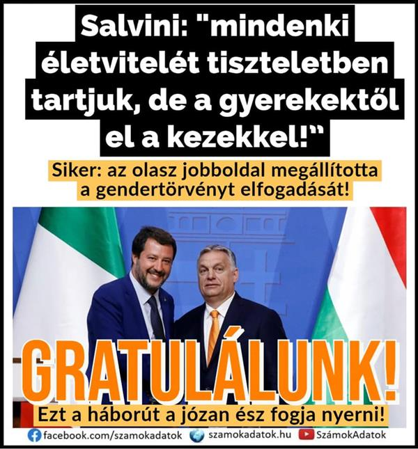 "Salvini: ""Everyone's way of life is respected, but away from children with their hands!"""