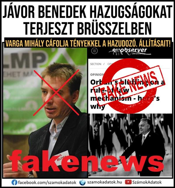 The Minister of Finance refutes the false claims of Benedek Jávor
