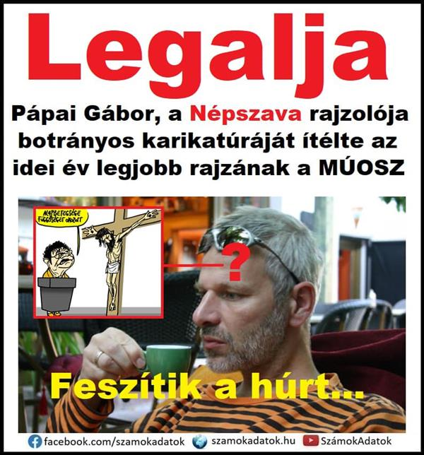 Dirtiest: Gábor Pápai, the draftsman of Népszava, judged his scandalous caricature to be the best drawing of this year by MÚOSZ