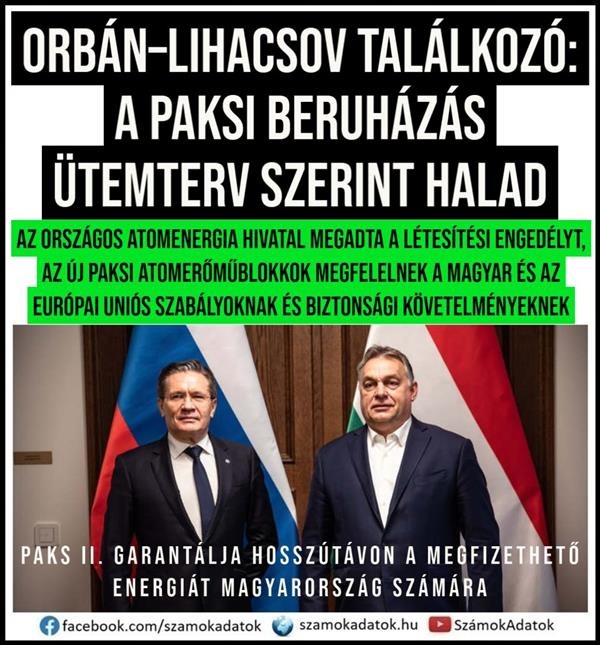 Orban-Likachov meeting: the Paks investment is on schedule