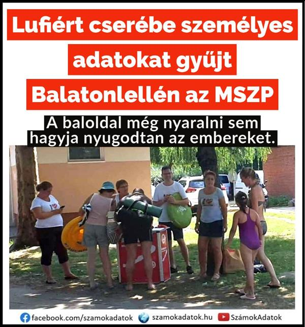 In exchange for balloons, the MSZP collects personal data in Balatonlelle