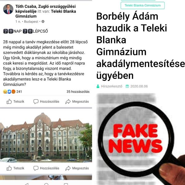 Csaba Tóth, Socialist Member of Parliament for Zugló, continues to lie about Teleki Blanka High School