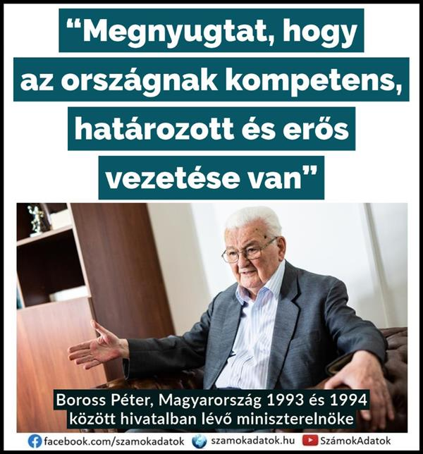 """It reassures that the country has a competent, determined and strong leadership"" / Péter Boross /"