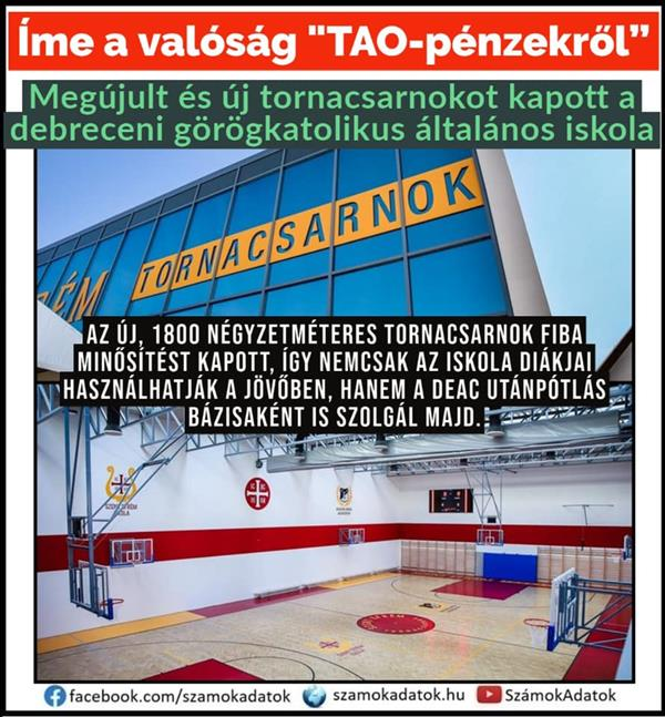 The Greek Catholic primary school in Debrecen was renovated and given a new gym
