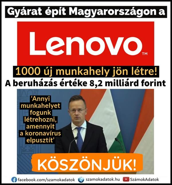 Lenovo is building a factory in Hungary!  1000 new jobs will be created!  (With video)