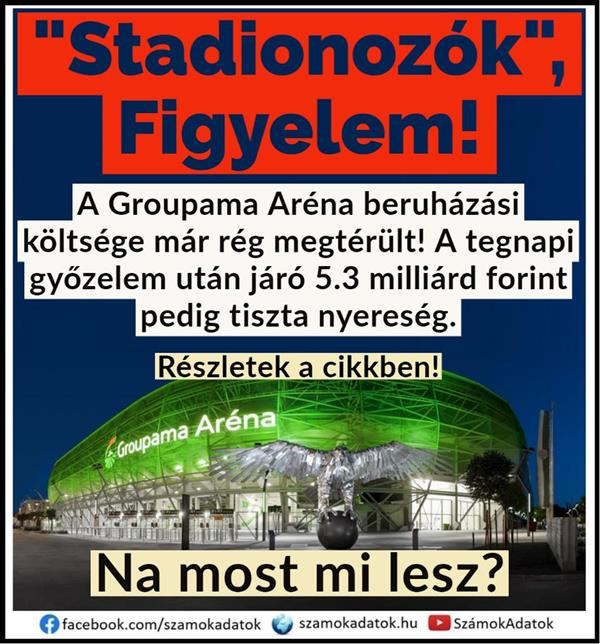 The investment cost of the Groupama Arena has long been recouped!  The HUF 5.3 billion (2nd) after yesterday's victory is a net profit