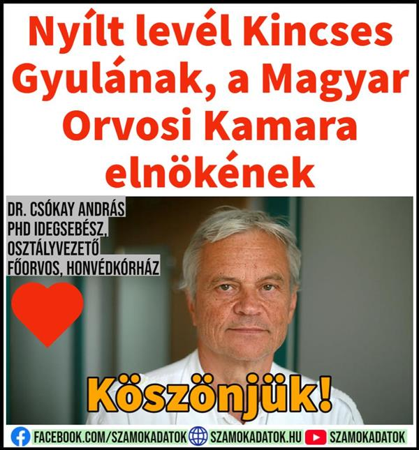 Open letter to Gyula Kincses, President of the Hungarian Medical Chamber